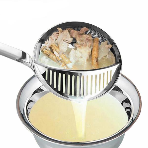 Hoomall 2 in 1 Spoons Stainless Steel Kitchen Colander Tools Long Handle Porridge Spoons with Filter Dinnerware Utensils Table