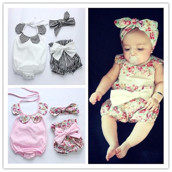 Bebek Rompers Yaz Bebek Kız Romper Şort Kafa 3PCS Çocuk Giyim Seti Yenidoğan Bebek Giyim Butik Kız Vintage Çiçek Romper Kıyafetler
