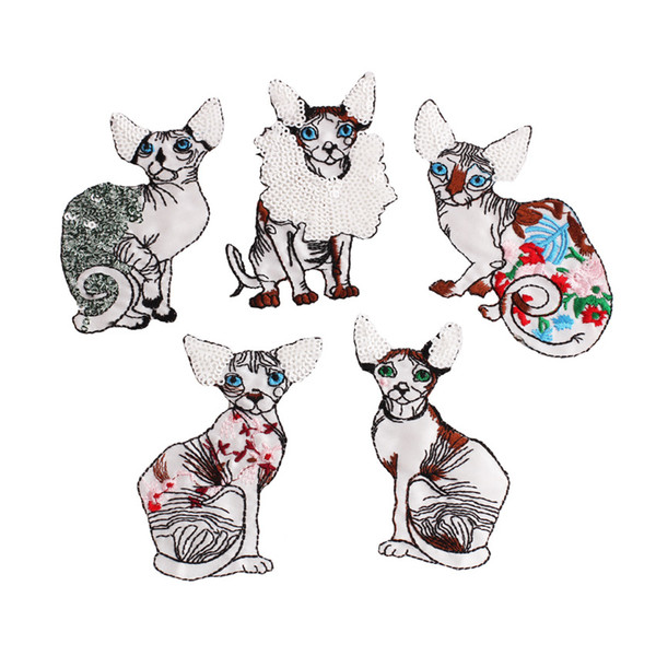 5pcs/set 3D Embroidery Patch for Kids Cloth Lovely Sequin Cat Patches DIY Decoration Applique Badges Stickers
