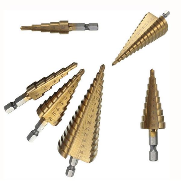 2019 Binoax 3 Adet Metrik Spiral Flüt Adım HSS Çelik 4241 Koni Titanyum Kaplamalı Matkap Uçları Aracı Set Delik Kesici 4-12 / 20 / 32mm + Kese
