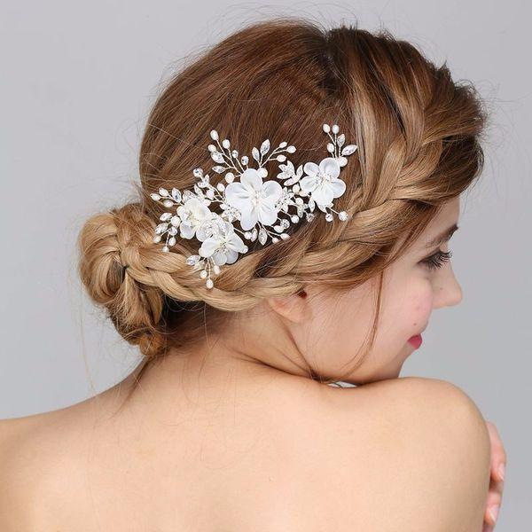 Generous Silver Tulle Flower Pearls Wedding Hair Clip Accessories Bridal Comb Handmade Women Headpiece Hair Jewelry