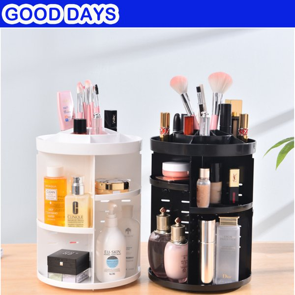 360-degree Rotating Women Makeup Storage Organizer Box Jewelry Cosmetic Brush Holder Black White Organizer Storage Box