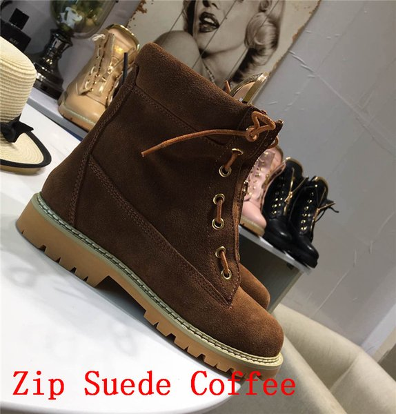 2018 Women Lace-Up Ankle Boots Side Zip Buckled Leather Boots Suede Low Heel Round Toe Gold-Tone Hardware Martin Shoes Luxury Brand 33