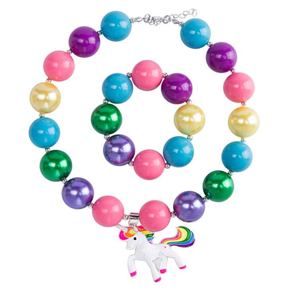 Children Jewellery Set Unicorn Horse Colorful Beaded Bubblegum Chunky Bead Necklace Bracelets for Kids with Pendants Christmas Gift Girls