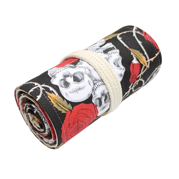 Handmade Rose Skulls Pencil Case Rolling Curtain Model Pen Bag Large Capacity Pencil Bags For Students