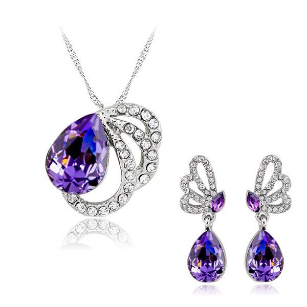 Bridesmaid Jewelry Set Earring Necklace Pendants Swarovski Australian Crystal Jewelry African Fashion Indian jewellery set Party Jewelry Set