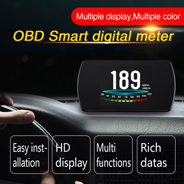 best selling Latest P12 OBDII OBD2 Car HUD Head Up 4.2 Inch LCD Display Speed Alarm Warning Smart Digital Meter Vehicle Trip Computer