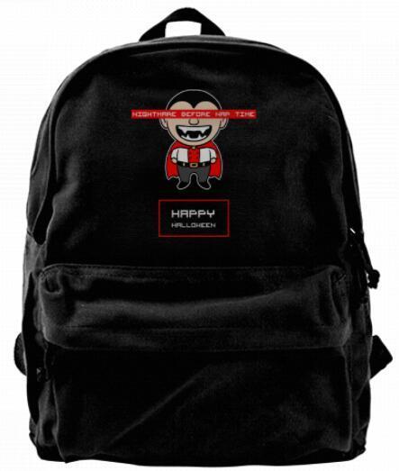 Nightmare before nap time Happy Halloween Canvas Shoulder Backpack For Men & Women Teens College Travel Daypack Design handbag