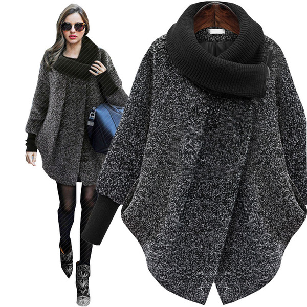 64053418faf Knitted Turtleneck Plus size Autumn Winter Wool Coat Women Woollen 2018 New  Thick Cashmere femala jacket manteau femme hiver 6xl
