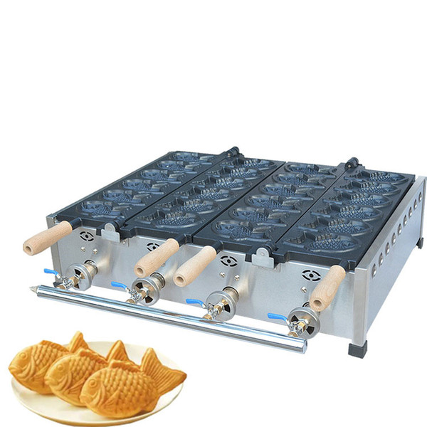 snack machinery commercial gas taiyaki machine with 12 pcs moulds gas Fish-shaped taiyaki waffle making machine price