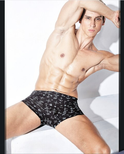 De forma masculino Cueca Homens Boxers Modal Imprimir Underwear 4 pcs muito Homens confortáveis Boxers Mid-cintura