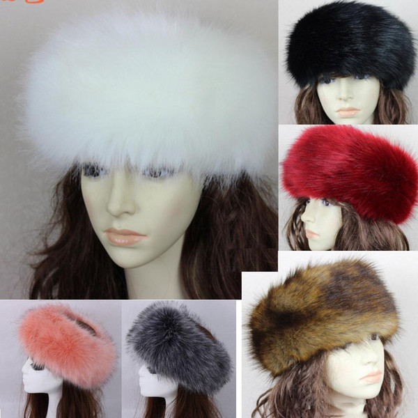 best selling 34 colors Womens Faux Fox Fur Headband Luxury Adjustable Winter warm Black White Nature Girls Earwarmer Earmuff