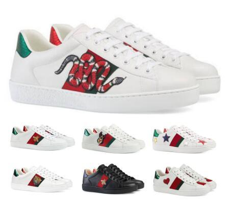 Tasarımcı Tekne Flats Loafers Günlük Ayakkabılar Sneakers Erkek Kadın Beyaz Düşük Gerçek Deri Python Kaplan Arı Çiçek Lüks Klasik Ayakkabı
