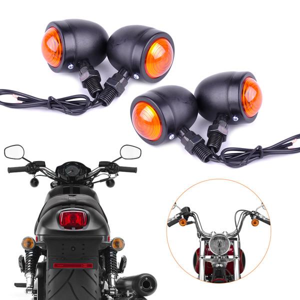 Luz indicadora de señal de giro de la motocicleta Ámbar Moto Intermitente Faros 12 Lámpara indicadora Bullet Chrome negro nuevo