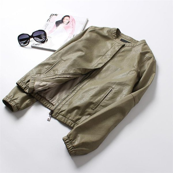 european and american fashion round neck pu jacket coat casual simple washed leather coat spring and autumn office commute