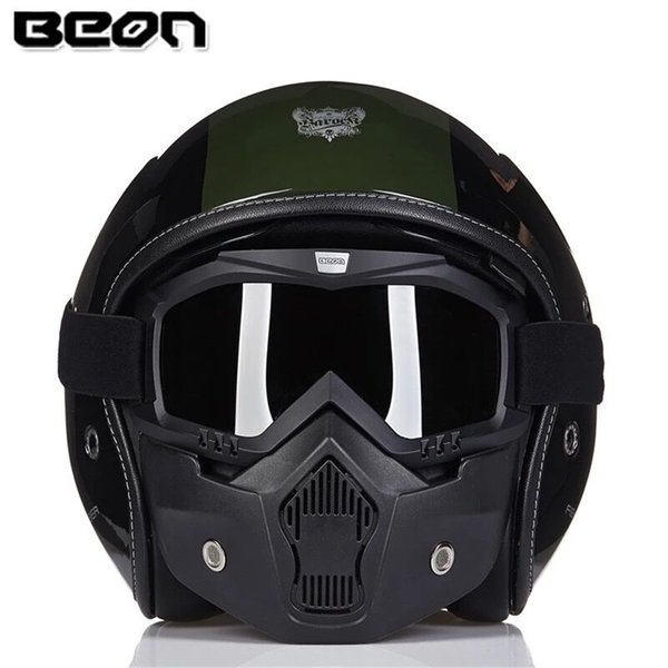 BEON Fiberglass Motorcycle Helmet  High end Chopper Open Face Vintage Moto Casque Casco motocicleta Capacete with Mask