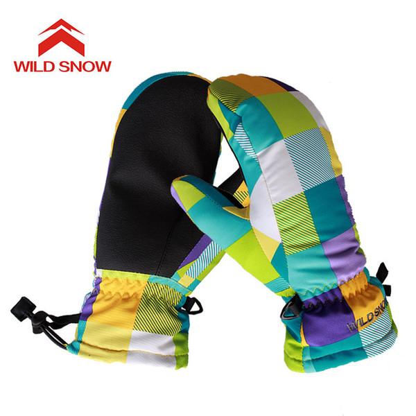 2017 Children Ski Mittens Snowboard Gloves Winter Women Outdoor Snow Sport Mittens Boys Girls Waterproof Warm Skiing Gloves 618