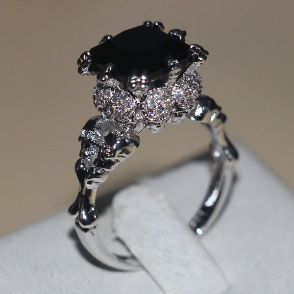 X Victoria Wieck Punk Skull Jewelry 5ct 5A Zircon stone Black Cz wedding band ring for women White gold filled Dropshipping Ring
