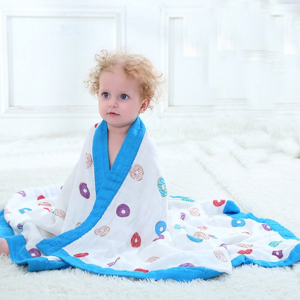 Fiber Cotton Baby Muslin Swaddle For Infant Baby Bedding Sheet For Kids Bath Towel 2 Layers Baby Blanket For Newborns