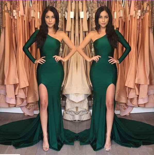 Hunter Green Long Dresses Evening Wear 2018 Sexy Split Side One-Shoulder with Sleeve Pageant Gowns Girl Prom Party Dresses