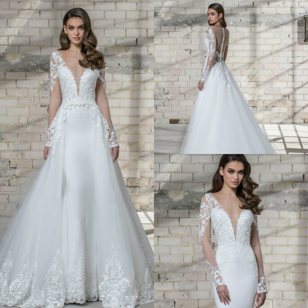 Elegant Two Pieces Wedding Dress Pnina Tornai 2019 Long Sleeve Mermaid Lace Applique Deep V Neck Bridal Gowns With Removable Tulle Train