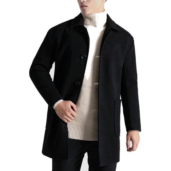 2018 Winter Long Wool Coat Men Fashion Turn-down Collar Wool Blend Single Breasted Coat Men Pocket Overcoats