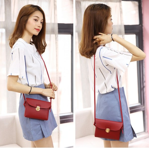 NEW Women PU Leather Ladies Mini Messenger Fashionable Flap Bag Solid Color Girls Classic Shouder Crossbody Bags