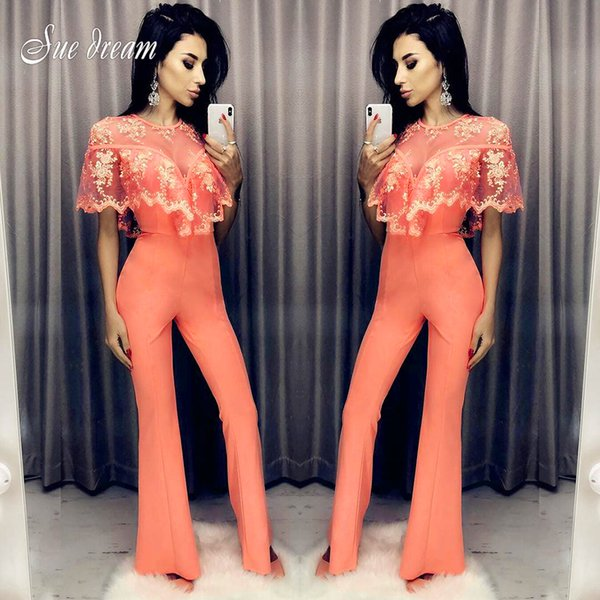 Orange Bandage Jumpsuit 2018 New Fashion Lace Cappa Women's Bodycon Jumpsuit Sexy Club Celebrity Party Long