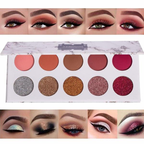 10 Colores Brillo Polvo Sombras de ojos Paletas Ojos Cosméticos Fiesta profesional Shimmer Mate Sombra de ojos Paleta de maquillaje