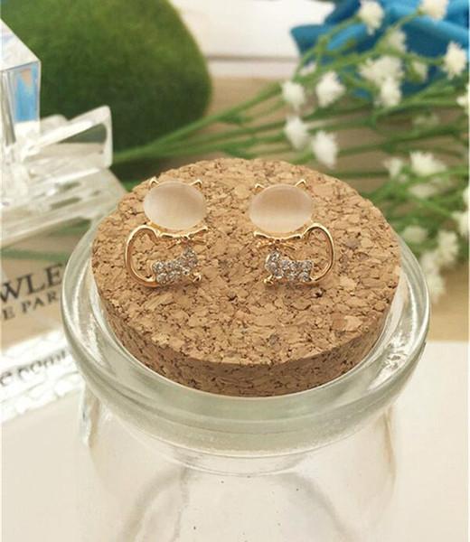 50 pair, New style Diamond insert jewelry Earrings design crystal stud Cat's eye stone Earrings Little cat shape Not fading zircon Ear Studs