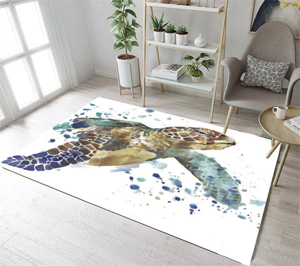 Großhandel LB Große Aquarell Turtle White Bodenmatte Bereich Teppiche  Schlafzimmer Bad Teppich Für Männer Wohnzimmer Kinder Hause Kissen Fußmatte  Von ...