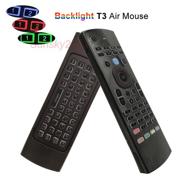 2.4G Air mouse senza fili tastiere Mini per la TV Box PC universale retroilluminato Supporto telecomando IR Impari T3 Colori Retroilluminazione controller
