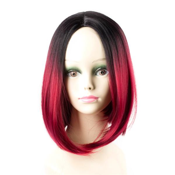 Ombre Rojo pelucas sintéticas de pelo corto Bob Pelucas para mujeres Kanekalon recta Peinado resistente al calor Sassy Girl
