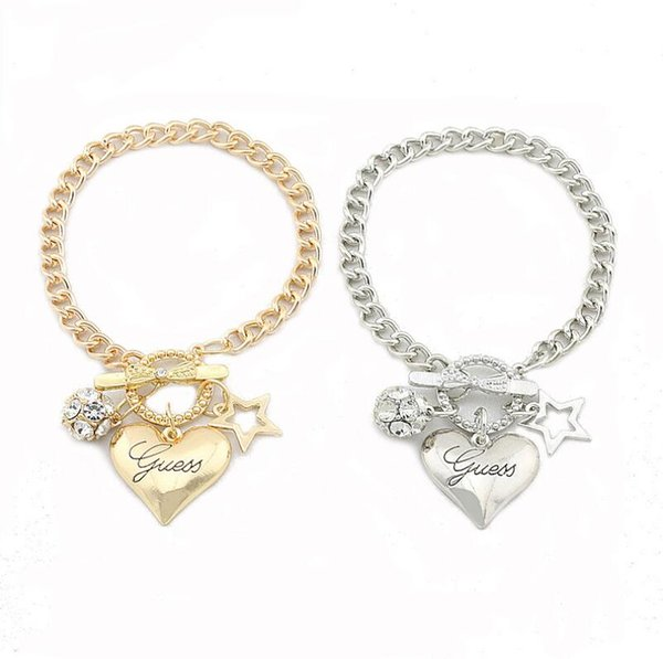 New Brand design pentagram love heart charm bracelets crystal ball gold silver color chain bangle bracelet for women lady girl jewelry gift