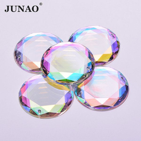 JUNAO 36mm Sew On Crystal AB Rhinestones Big Applique Sewing Clear Crystals Stones Flat Back Round Acrylic Strass for Clothes