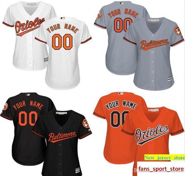 Qualitativ hochwertige Damen Be Orioles Benutzerdefinierte Baseball Jersey Personalisierte jeden Namen und Anzahl Stickerei Logos 100% genäht Größe S-2XL
