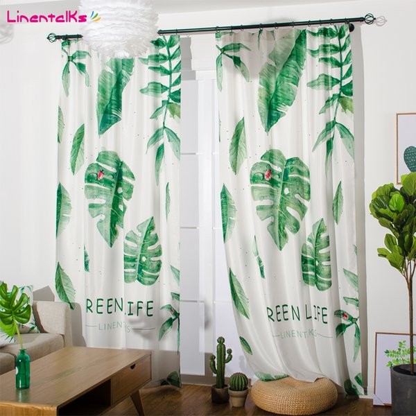Fashion Window Bedroom Curtain Green Life Blackout Linen Sheer Finished Curtain Ready-made Pleated Curtain Punching & Hooks Style 2 Panels