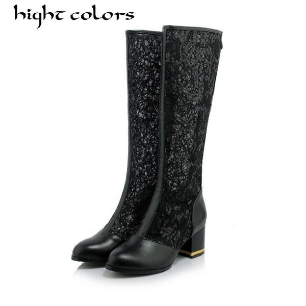 New Spring Summer Women Boots Pointed Toe Lace Sequins Knee High Boots For Thick Heels Zipper Womans Cool Botas Mesh Breathable