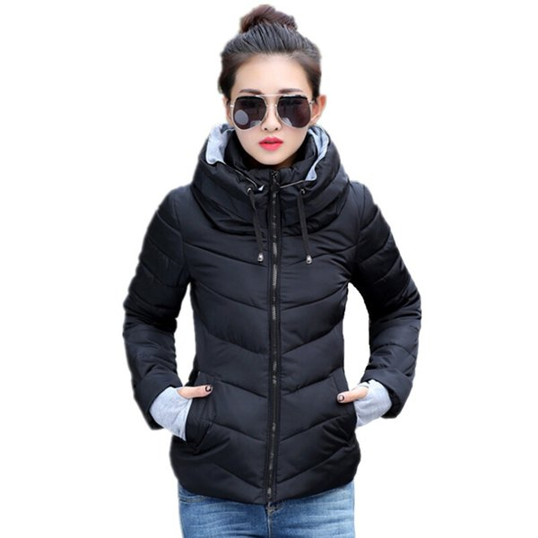 Wholesale- FICUSRONG 2017 Causal Winter Jacket Women Parka Winter Outerwear Coat Short Slim Hooded Cotton-padded Womens Jackets And Coats