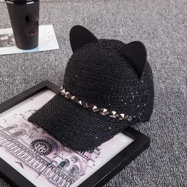 New fashion women girl's Hats spring summer cap cat ears hats snapback bone Hip Hop Caps wool knit baseball cap