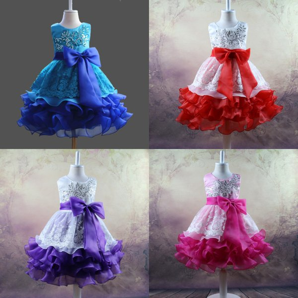 Vintage A Line Tea Length 4 Colors Litter Girl's Pageant Dresses With Lace Squin Appliques Toddler Flower Girl Dresses