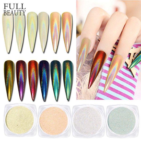 1 Caixa de Laser Prego Glitter Pó Poeira Espelho Pavão Brilhante Holo Nail Art Chrome Pigmento Gel Polonês DIY Manicure Dicas CHLB01 06