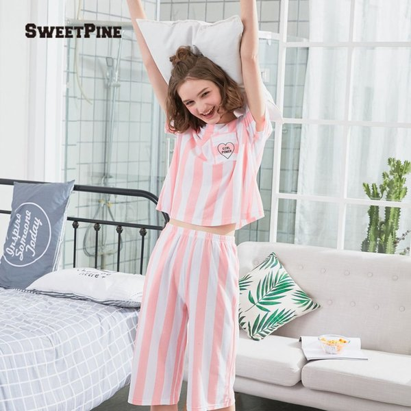 Fashion Women Nightgown Set O-neck Short Sleeve Striped Shirt With Pants Casual Loose Nightdress for Summer