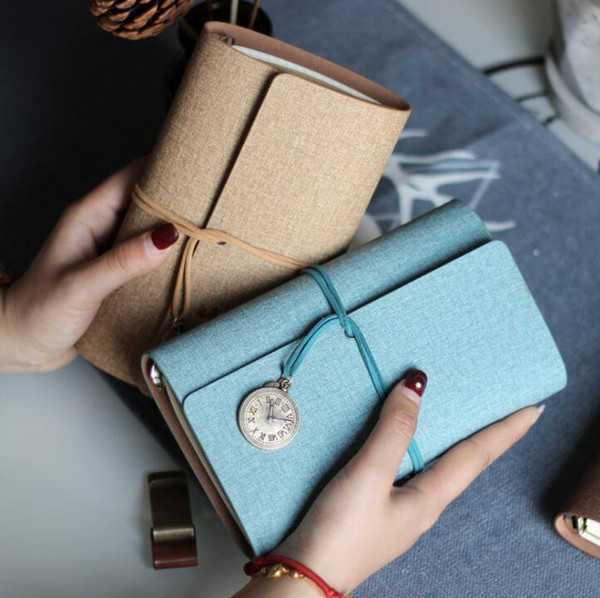 Spiral leather Bound travel journal book portable office student school girls notepads stationery Cotton Linen color planner memo notebooks