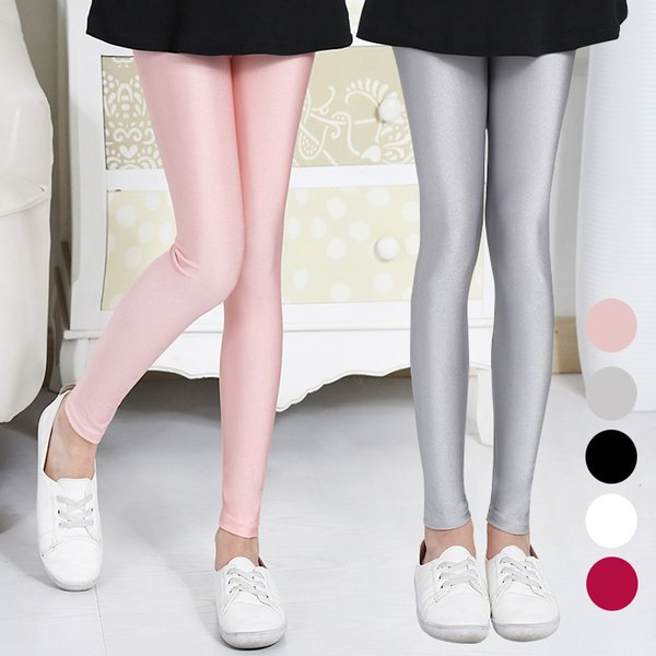 kids 2017 children's trousers spring autumn shiny leggings pants girls pants 4 6 8 10 12 years old baby girl clothes