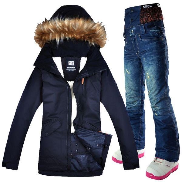 Ski Suit Women Thermal Waterproof Windproof Clothes Gsou Snow Denim Pants Ski Jacket Women Set Skiing And Snowboarding Suits