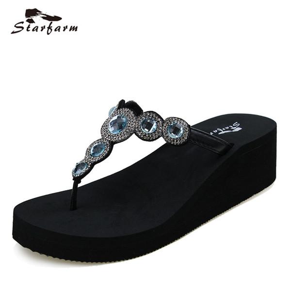 2017 starfarm frauen schuhe frau keil sommer flip flops lustige sandalen feme hausschuhe dame kristall slipper chic slides
