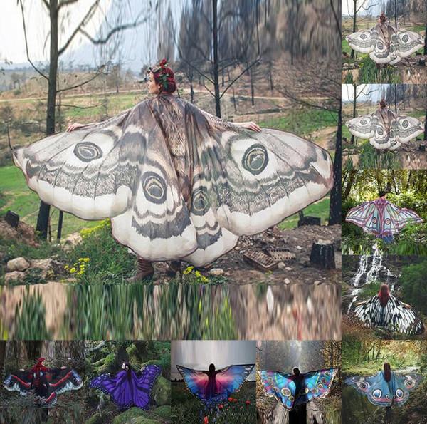 Las mujeres ala de la mariposa grande Hada del cabo de la bufanda de Pashmina de la cubierta del bikini Hasta gasa pendiente de la playa cubre para arriba el abrigo del mantón del pavo real de accesorios de vestuario