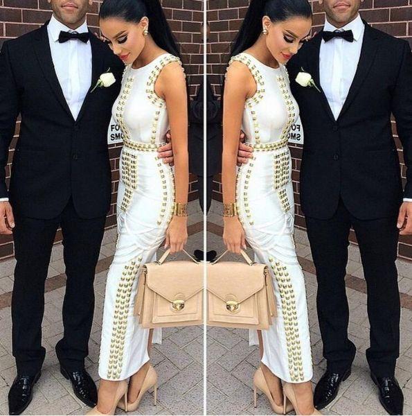 Summer women Sexy Bodycon nero bianco senza maniche con borchie perline lunghe maxi rayon Vestito dalla fasciatura Celebrity kim kardashian