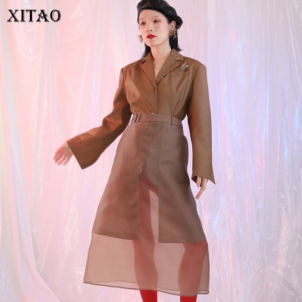 [XITAO] 2018 осень Новая Европа повседневная женщины Flare рукавом зубчатый воротник пальто женский однобортный сплошной цвет блейзеры KZH2225